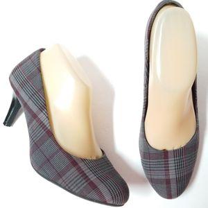 Predictions gray red plaid heels tartan check pump